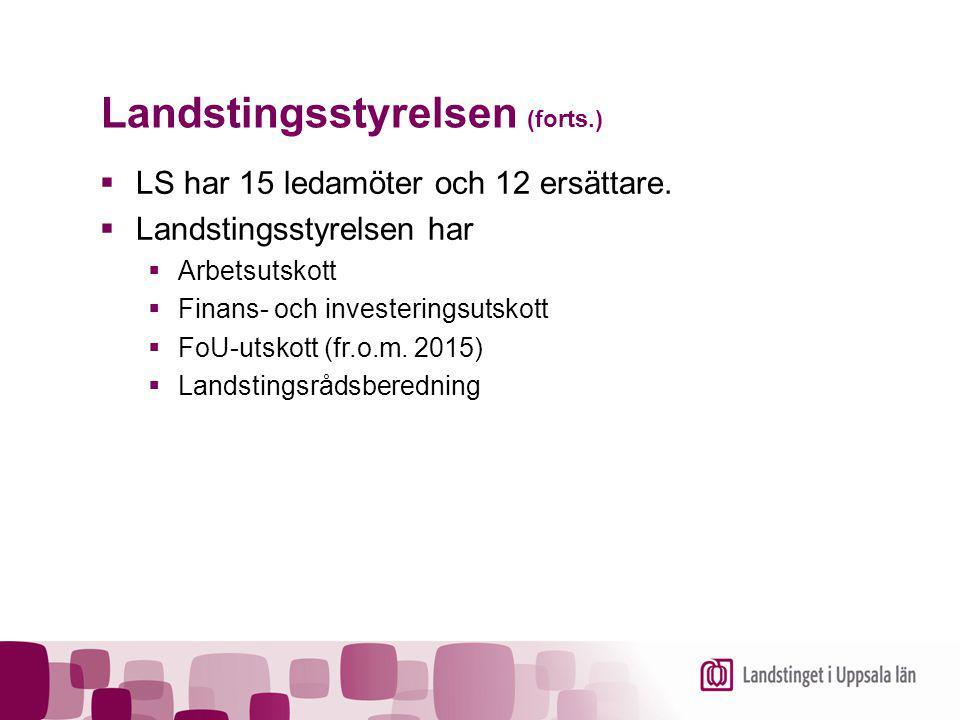 Landstingsstyrelsen (forts.)  LS har 15 ledamöter och 12 ersättare.  Landstingsstyrelsen har  Arbetsutskott  Finans- och investeringsutskott  FoU