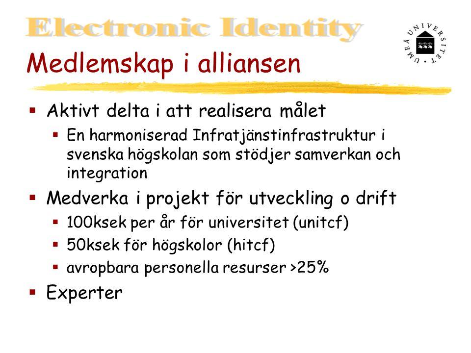 Medlemskap i alliansen  Aktivt delta i att realisera målet  En harmoniserad Infratjänstinfrastruktur i svenska högskolan som stödjer samverkan och integration  Medverka i projekt för utveckling o drift  100ksek per år för universitet (unitcf)  50ksek för högskolor (hitcf)  avropbara personella resurser >25%  Experter