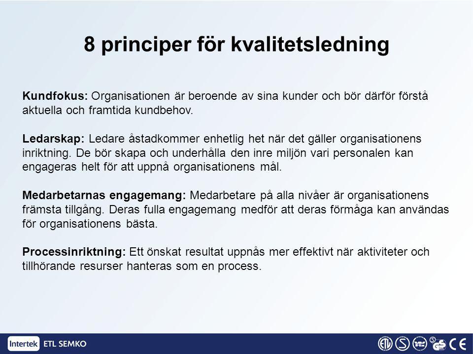 Kundfokus: Organisationen är beroende av sina kunder och bör därför förstå aktuella och framtida kundbehov. Ledarskap: Ledare åstadkommer enhetlig het