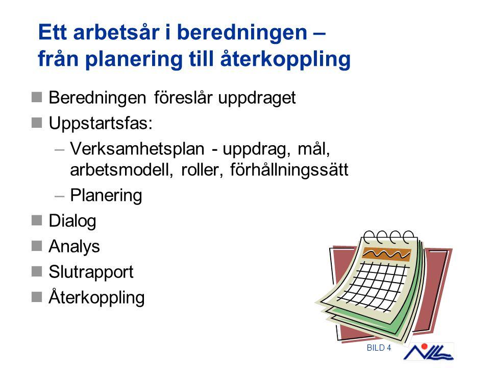 BILD 4 Ett arbetsår i beredningen – från planering till återkoppling Beredningen föreslår uppdraget Uppstartsfas: –Verksamhetsplan - uppdrag, mål, arbetsmodell, roller, förhållningssätt –Planering Dialog Analys Slutrapport Återkoppling