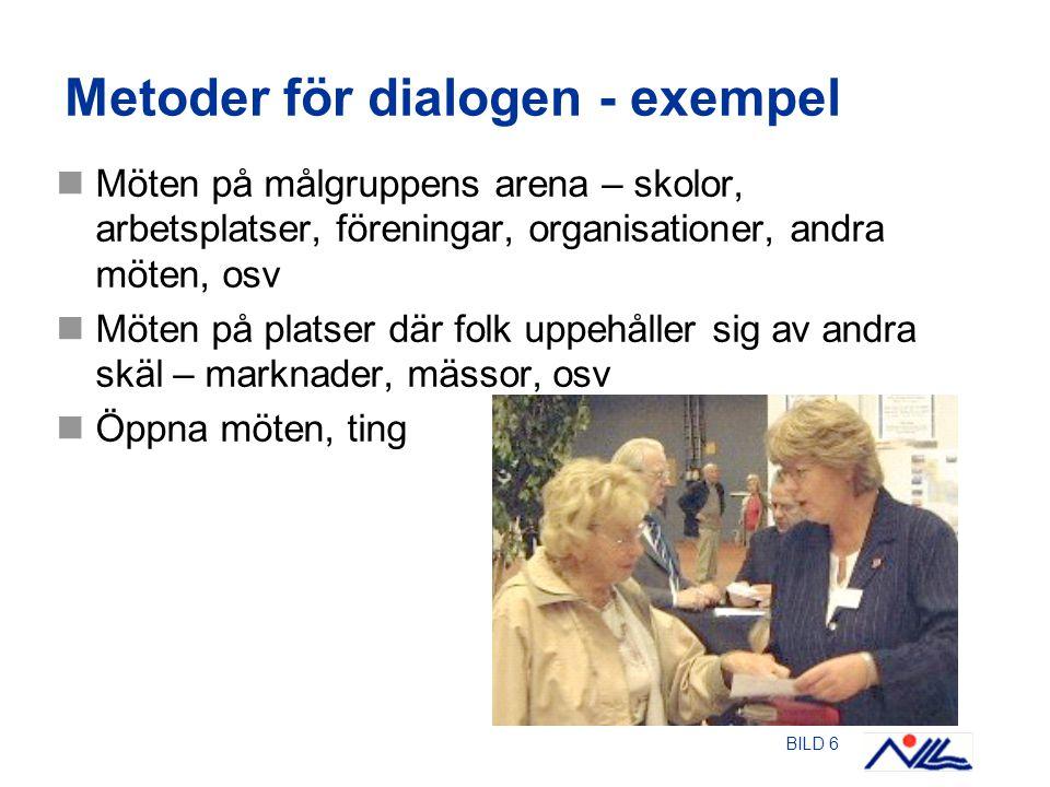 BILD 6 Metoder för dialogen - exempel Möten på målgruppens arena – skolor, arbetsplatser, föreningar, organisationer, andra möten, osv Möten på platser där folk uppehåller sig av andra skäl – marknader, mässor, osv Öppna möten, ting