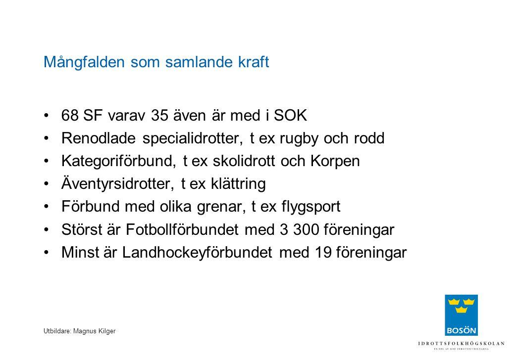Utbildare: Magnus Kilger Mångfalden som samlande kraft 68 SF varav 35 även är med i SOK Renodlade specialidrotter, t ex rugby och rodd Kategoriförbund
