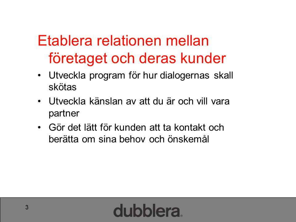 3 Etablera relationen mellan företaget och deras kunder Utveckla program för hur dialogernas skall skötas Utveckla känslan av att du är och vill vara