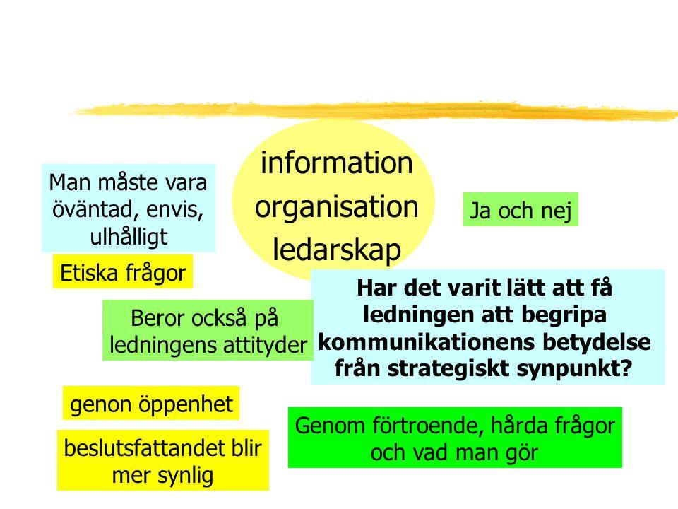 information organisation ledarskap Ja och nej Har det varit lätt att få ledningen att begripa kommunikationens betydelse från strategiskt synpunkt? Ge