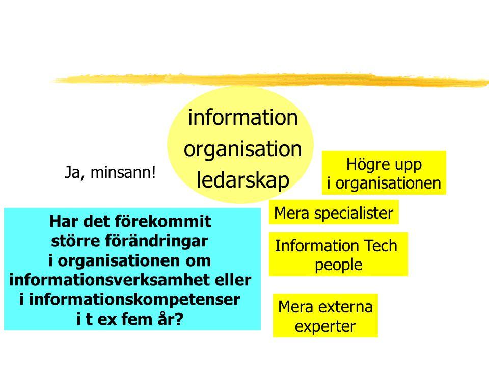 information organisation ledarskap Mera specialister Högre upp i organisationen Ja, minsann! Har det förekommit större förändringar i organisationen o