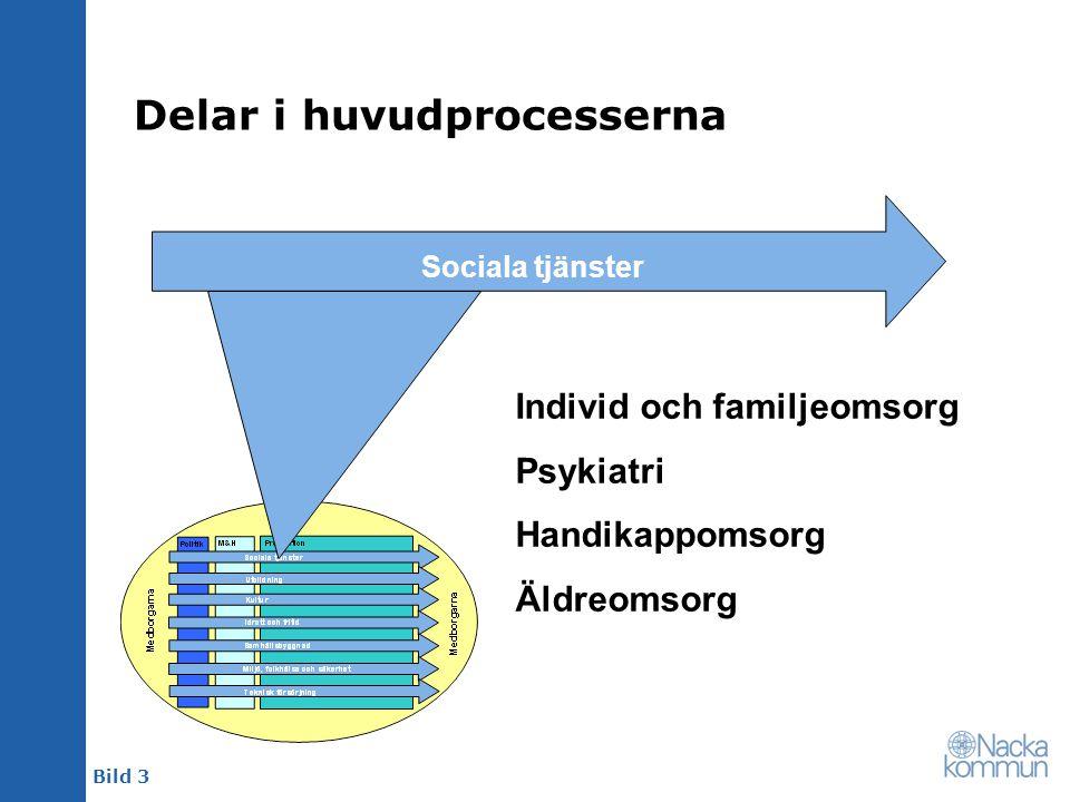 Bild 3 Delar i huvudprocesserna Sociala tjänster Individ och familjeomsorg Psykiatri Handikappomsorg Äldreomsorg