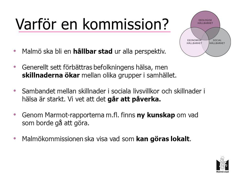 Kommissionen 14 kommissionärer; forskare och verksamhetschefer Ordförande, huvudsekreterare, informatör Senior advisers - Andra experter - Bred konsultation