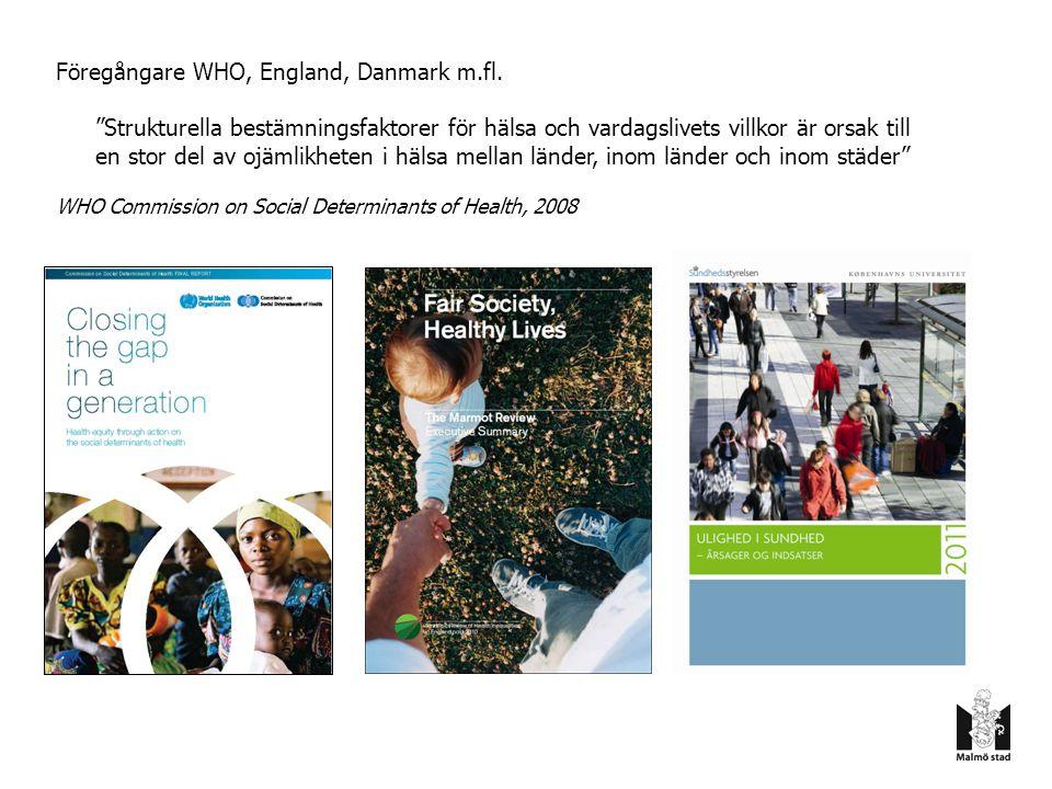 Direktiv Beslut i kommunstyrelsen november 2010 Politiskt oberoende kommission Analysera orsaker och utarbeta vetenskapligt underbyggda förslag till strategier för hur man kan minska ojämlikhet i hälsa i Malmö – Utgående från sociala bestämningsfaktorer – Vad är påverkbart och hur.