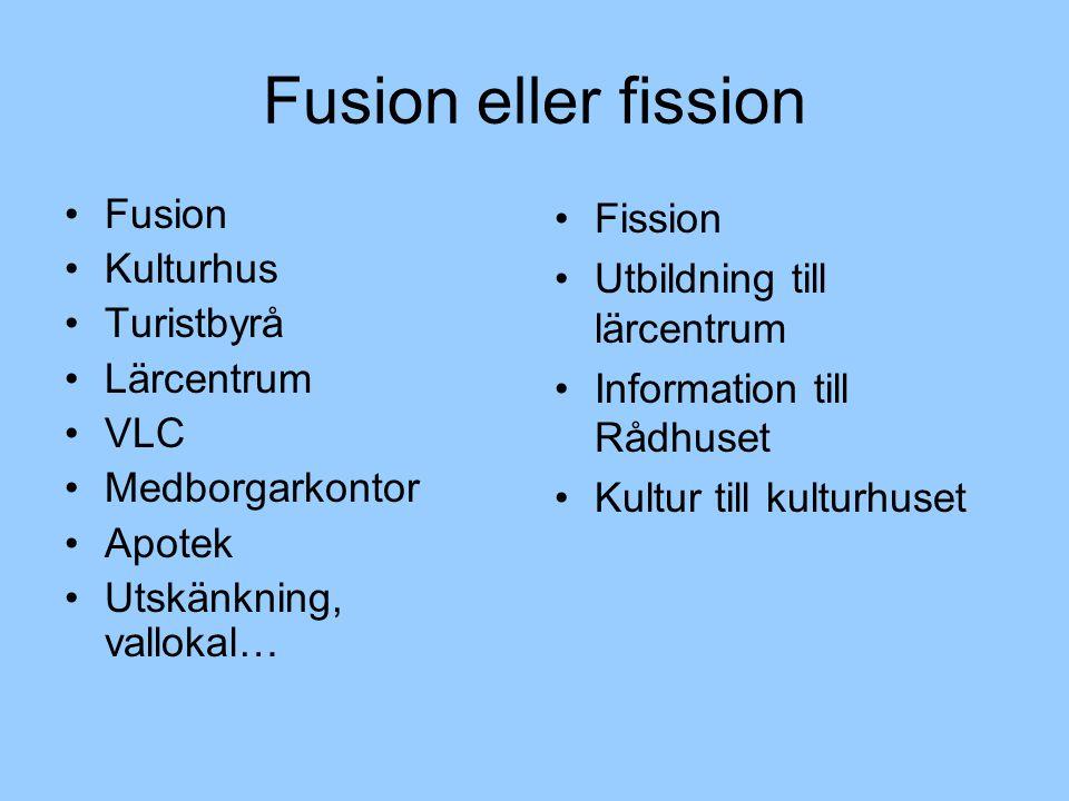 Fusion eller fission Fusion Kulturhus Turistbyrå Lärcentrum VLC Medborgarkontor Apotek Utskänkning, vallokal… Fission Utbildning till lärcentrum Information till Rådhuset Kultur till kulturhuset