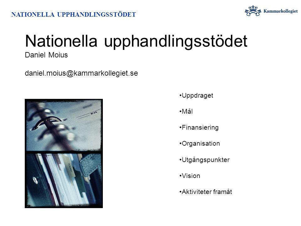 NATIONELLA UPPHANDLINGSSTÖDET Aktiviteter 2009 2009 Organisation Definition Kartläggning / Dialog Operationalisering Ordförandeskapet i EU Genomförande