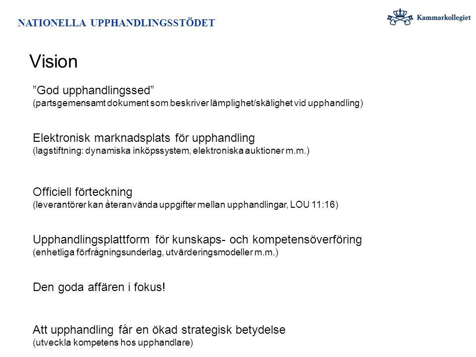 """NATIONELLA UPPHANDLINGSSTÖDET Vision """"God upphandlingssed"""" (partsgemensamt dokument som beskriver lämplighet/skälighet vid upphandling) Elektronisk ma"""