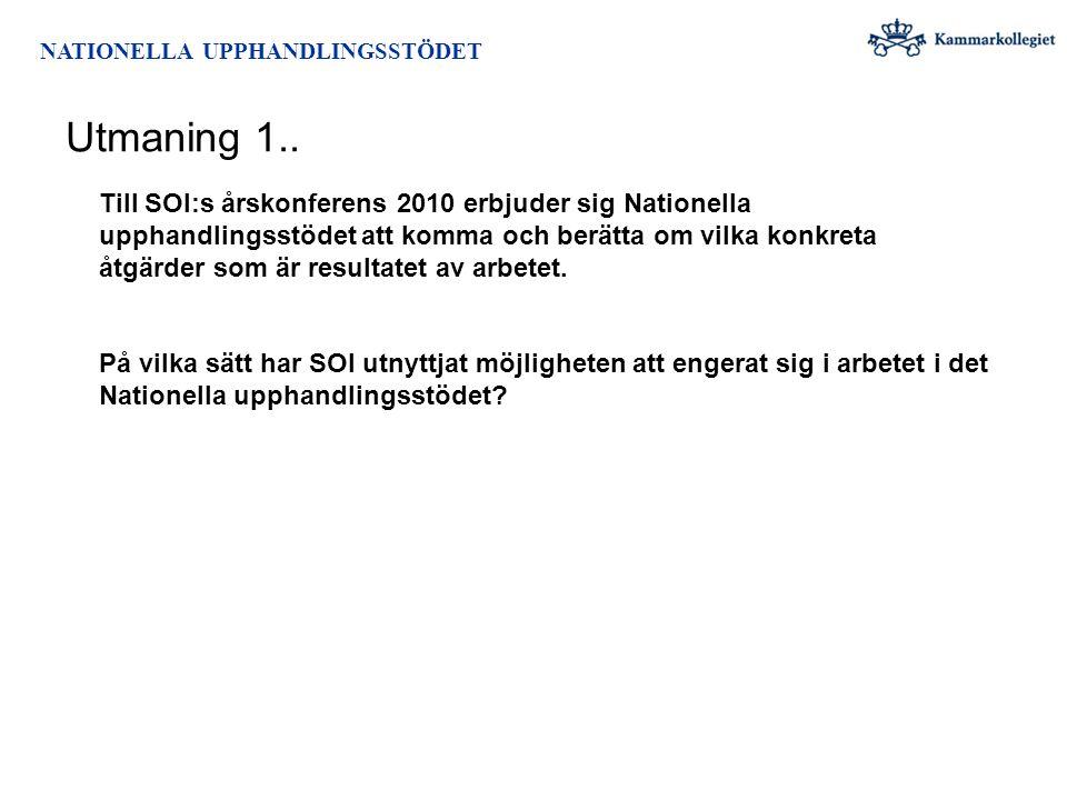 NATIONELLA UPPHANDLINGSSTÖDET Utmaning 1.. Till SOI:s årskonferens 2010 erbjuder sig Nationella upphandlingsstödet att komma och berätta om vilka konk