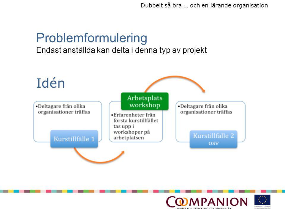 Dubbelt så bra … och en lärande organisation Idén Problemformulering Endast anställda kan delta i denna typ av projekt