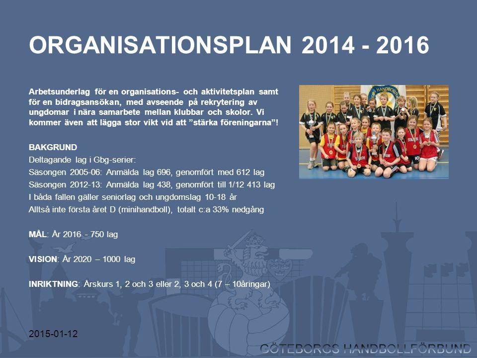 2015-01-12 ORGANISATIONSPLAN 2014 - 2016 Arbetsunderlag för en organisations- och aktivitetsplan samt för en bidragsansökan, med avseende på rekryteri