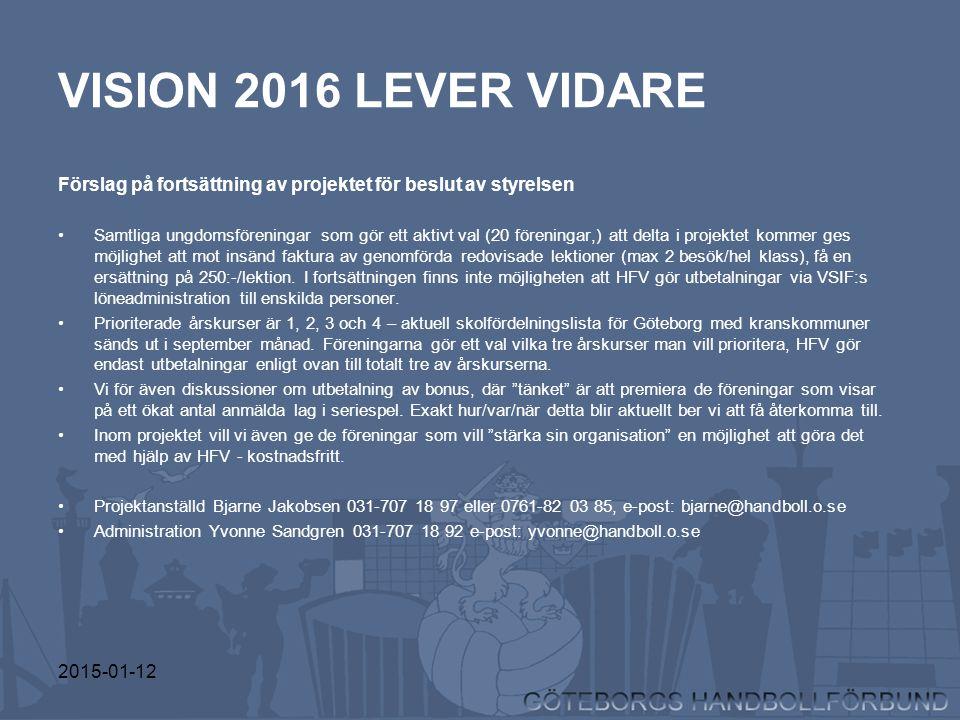 2015-01-12 VISION 2016 LEVER VIDARE Förslag på fortsättning av projektet för beslut av styrelsen Samtliga ungdomsföreningar som gör ett aktivt val (20