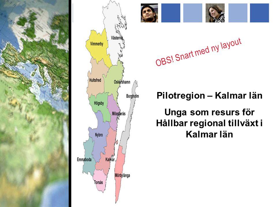 Pilotregion – Kalmar län Unga som resurs för Hållbar regional tillväxt i Kalmar län OBS.