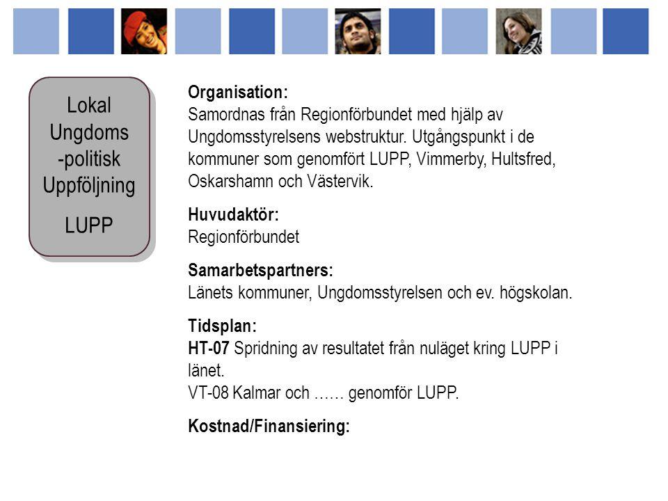 Organisation: Samordnas från Regionförbundet med hjälp av Ungdomsstyrelsens webstruktur.