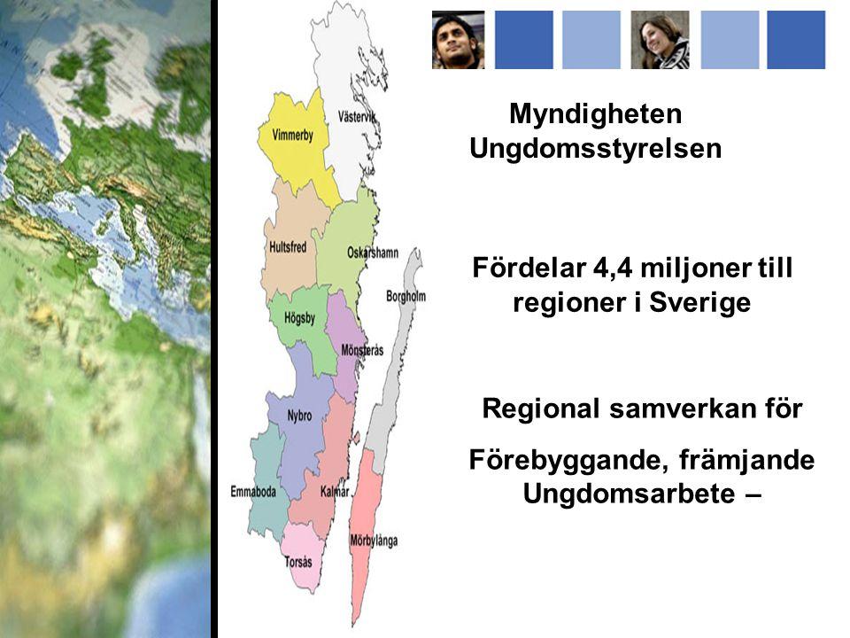 Myndigheten Ungdomsstyrelsen Fördelar 4,4 miljoner till regioner i Sverige Regional samverkan för Förebyggande, främjande Ungdomsarbete –