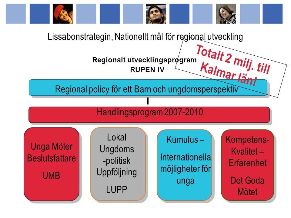 Lokal Ungdoms -politisk Uppföljning LUPP Det Goda Mötet - Kompetens och erfarenhetsutbyte Kumulus Center - Internationella möjligheter för unga Unga & Beslutsfattare Möts UBM