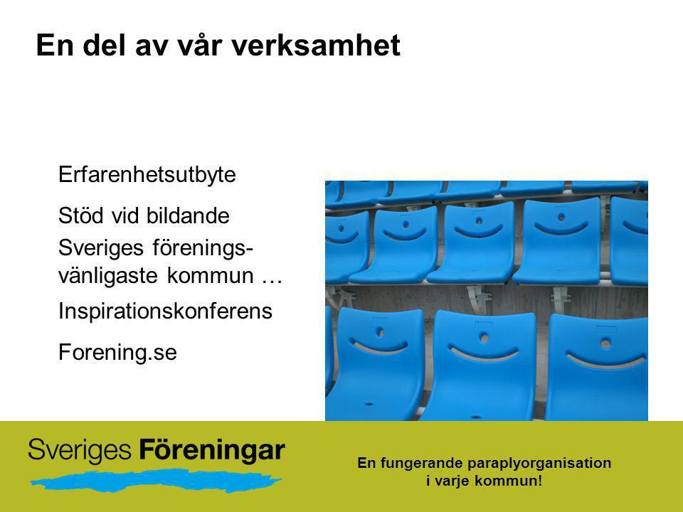 En del av vår verksamhet Erfarenhetsutbyte Stöd vid bildande Sveriges förenings- vänligaste kommun … Inspirationskonferens Forening.se En fungerande p