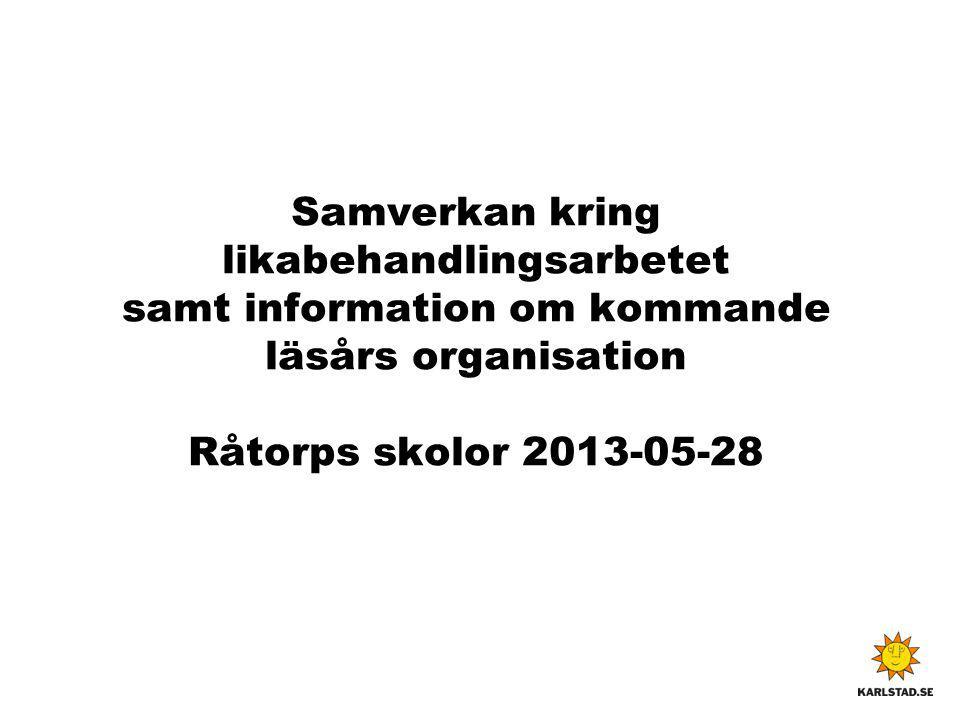 Samverkan kring likabehandlingsarbetet samt information om kommande läsårs organisation Råtorps skolor 2013-05-28