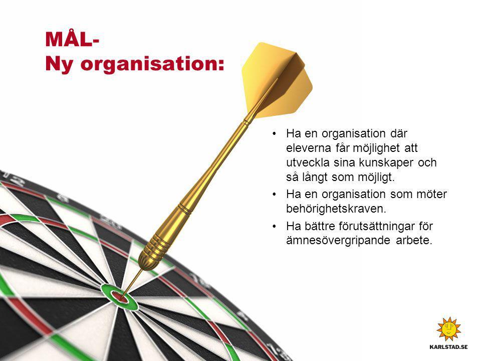 MÅL- Ny organisation: Ha en organisation där eleverna får möjlighet att utveckla sina kunskaper och så långt som möjligt. Ha en organisation som möter