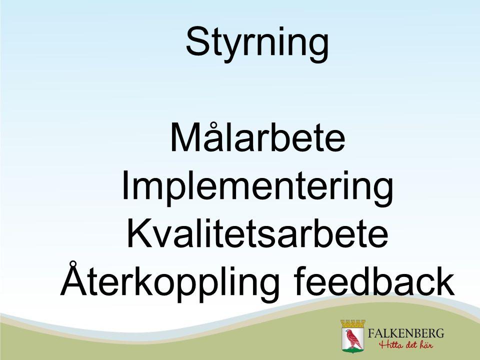 Styrning Målarbete Implementering Kvalitetsarbete Återkoppling feedback