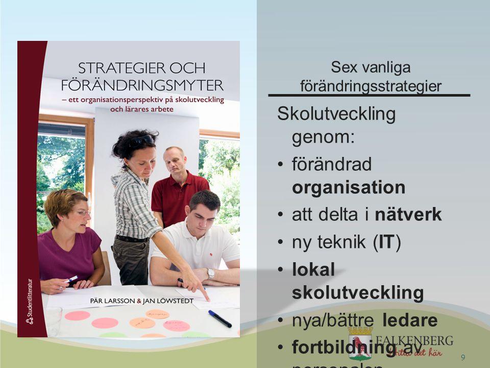 Sex vanliga förändringsstrategier Skolutveckling genom: förändrad organisation att delta i nätverk ny teknik (IT) lokal skolutveckling nya/bättre leda