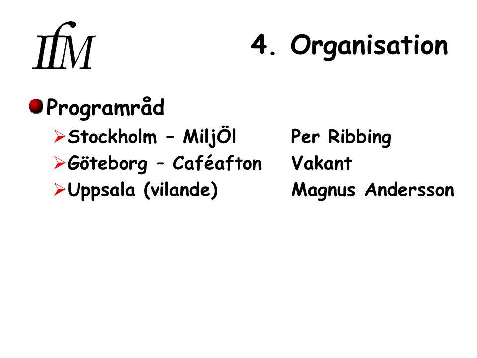 4. Organisation Programråd  Stockholm – MiljÖl Per Ribbing  Göteborg – Caféafton Vakant  Uppsala (vilande) Magnus Andersson