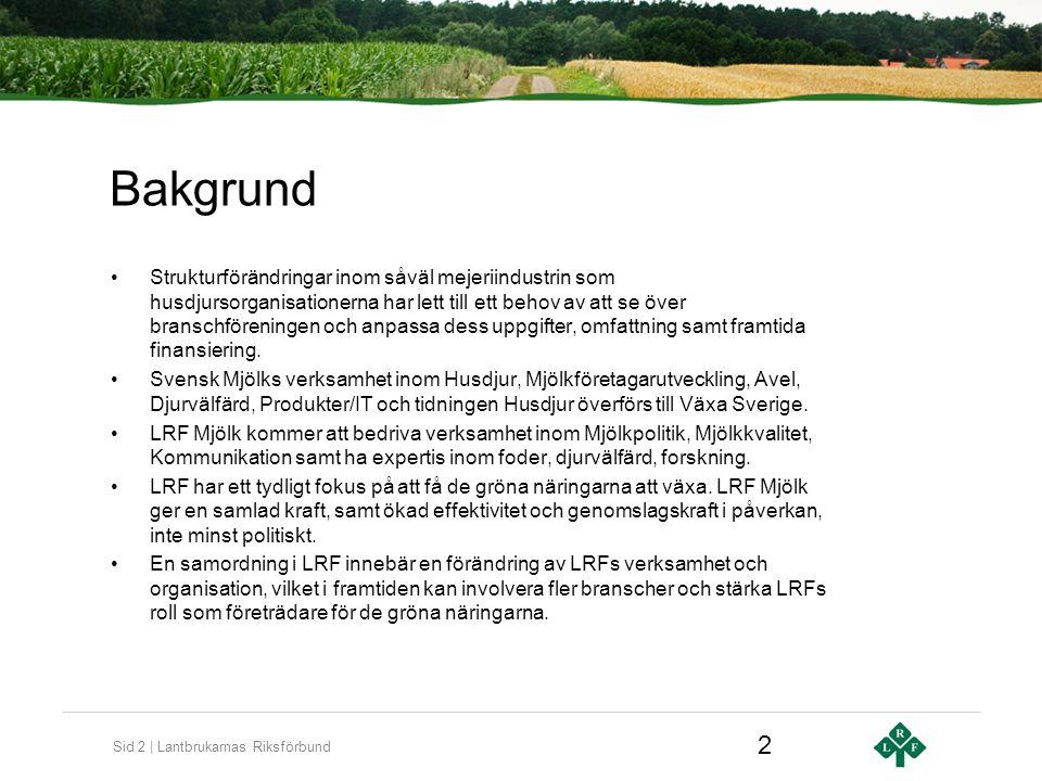 Sid 2 | Lantbrukarnas Riksförbund Bakgrund Strukturförändringar inom såväl mejeriindustrin som husdjursorganisationerna har lett till ett behov av att