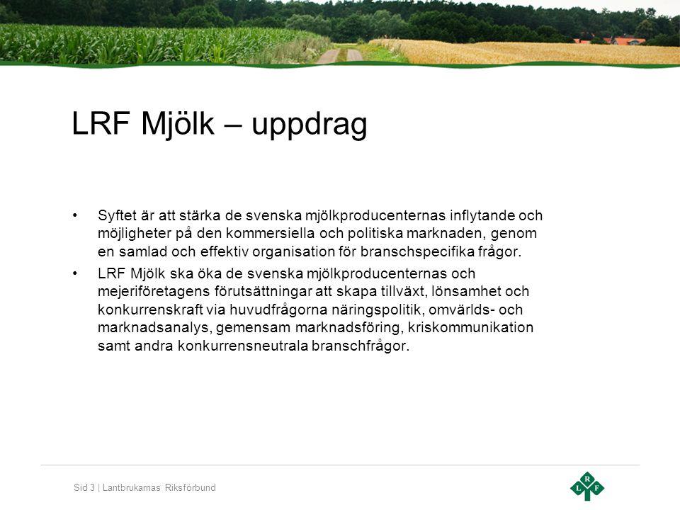 Sid 3 | Lantbrukarnas Riksförbund LRF Mjölk – uppdrag Syftet är att stärka de svenska mjölkproducenternas inflytande och möjligheter på den kommersiella och politiska marknaden, genom en samlad och effektiv organisation för branschspecifika frågor.