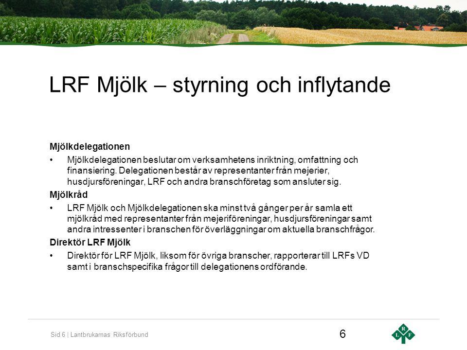 Sid 6 | Lantbrukarnas Riksförbund LRF Mjölk – styrning och inflytande Mjölkdelegationen Mjölkdelegationen beslutar om verksamhetens inriktning, omfattning och finansiering.