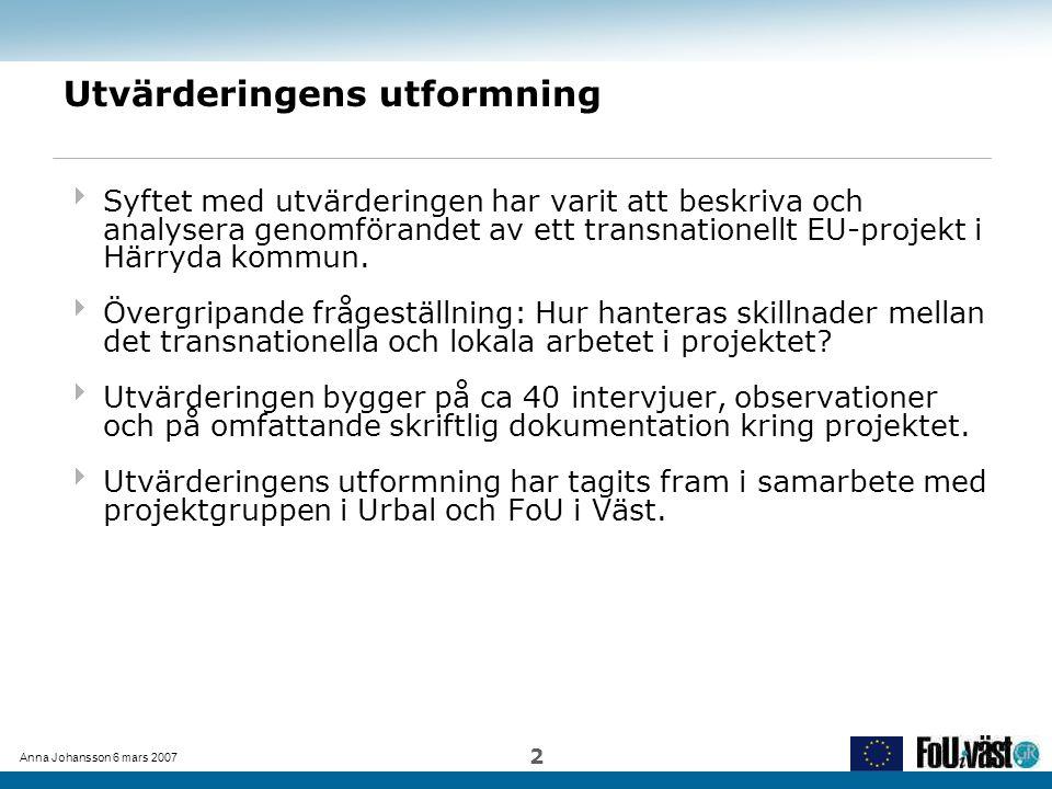 Anna Johansson 6 mars 2007 2 Utvärderingens utformning  Syftet med utvärderingen har varit att beskriva och analysera genomförandet av ett transnatio