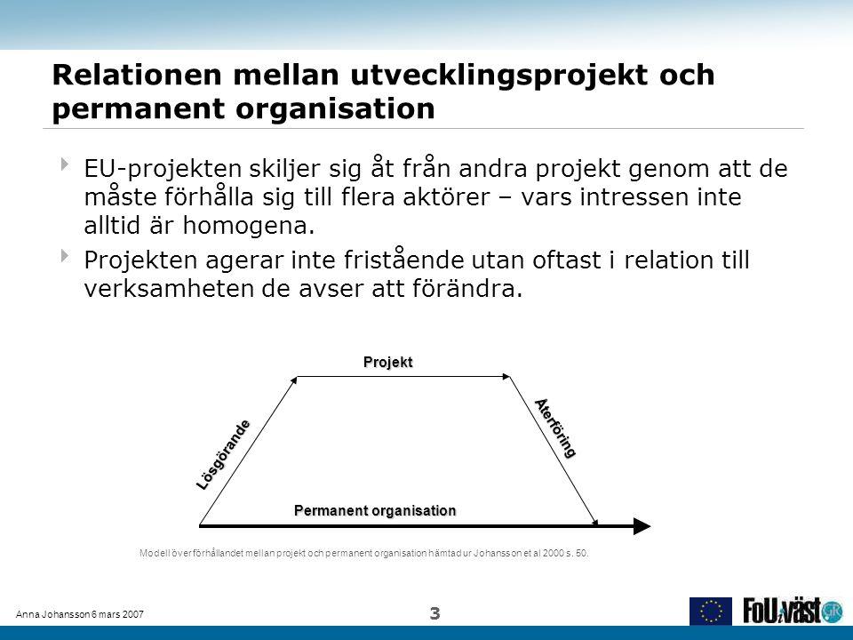 Anna Johansson 6 mars 2007 3 Relationen mellan utvecklingsprojekt och permanent organisation  EU-projekten skiljer sig åt från andra projekt genom at