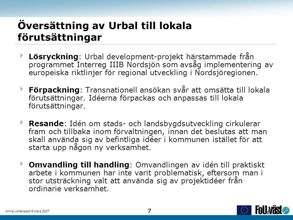 Anna Johansson 6 mars 2007 7 Översättning av Urbal till lokala förutsättningar  Lösryckning: Urbal development-projekt härstammade från programmet In