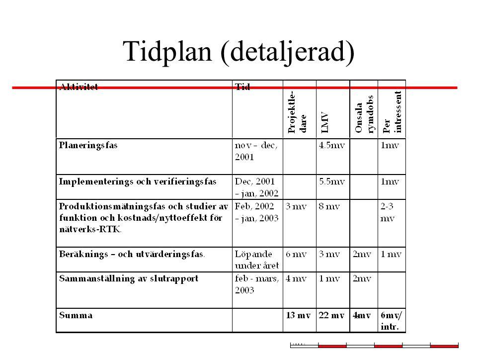 Tidplan (detaljerad)