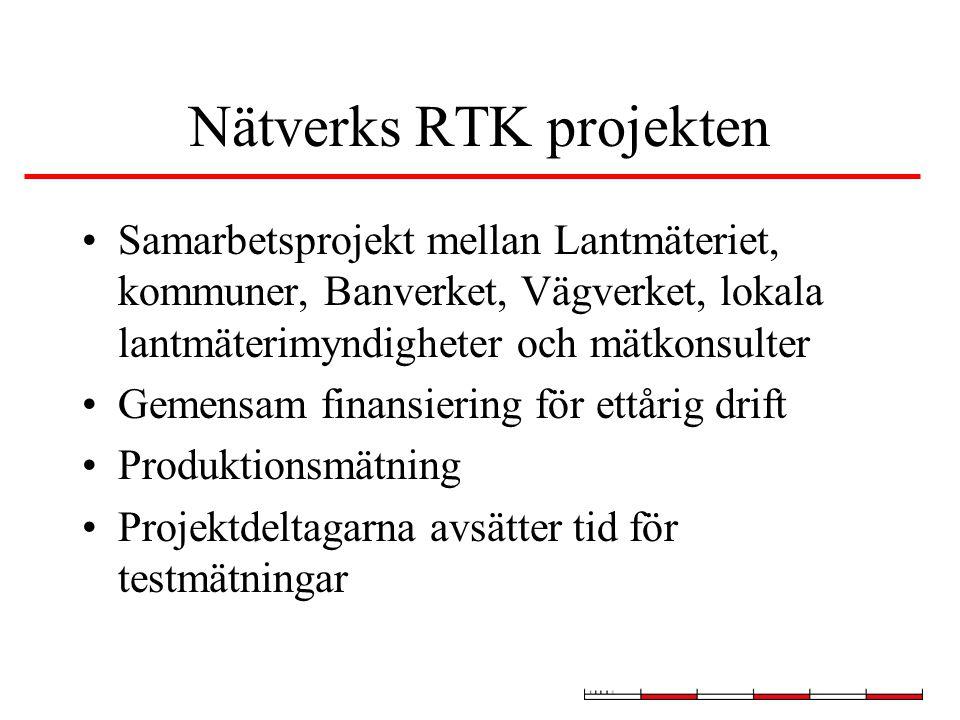 Nätverks RTK projekten Samarbetsprojekt mellan Lantmäteriet, kommuner, Banverket, Vägverket, lokala lantmäterimyndigheter och mätkonsulter Gemensam finansiering för ettårig drift Produktionsmätning Projektdeltagarna avsätter tid för testmätningar