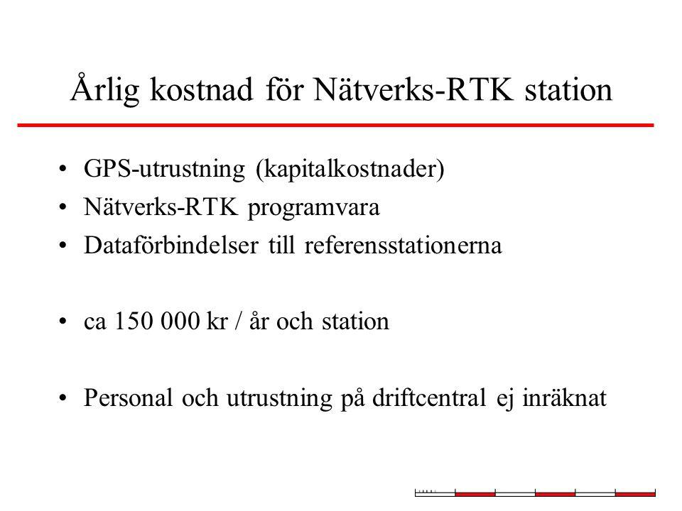 Årlig kostnad för Nätverks-RTK station GPS-utrustning (kapitalkostnader) Nätverks-RTK programvara Dataförbindelser till referensstationerna ca 150 000 kr / år och station Personal och utrustning på driftcentral ej inräknat