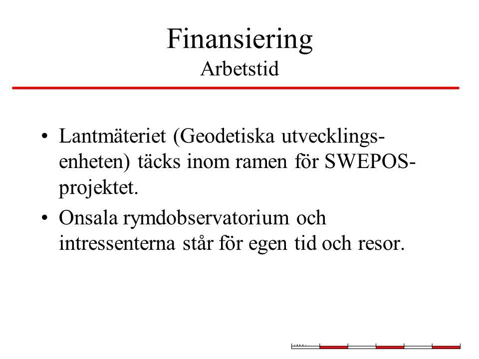 Finansiering Arbetstid Lantmäteriet (Geodetiska utvecklings- enheten) täcks inom ramen för SWEPOS- projektet.