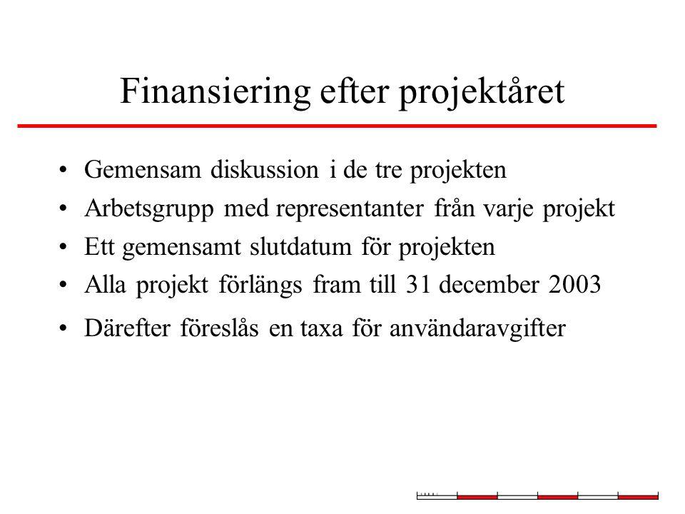 Finansiering efter projektåret Gemensam diskussion i de tre projekten Arbetsgrupp med representanter från varje projekt Ett gemensamt slutdatum för projekten Alla projekt förlängs fram till 31 december 2003 Därefter föreslås en taxa för användaravgifter
