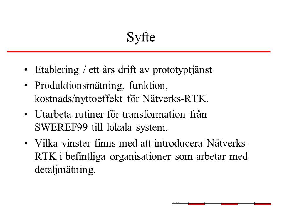 Syfte Etablering / ett års drift av prototyptjänst Produktionsmätning, funktion, kostnads/nyttoeffekt för Nätverks-RTK. Utarbeta rutiner för transform