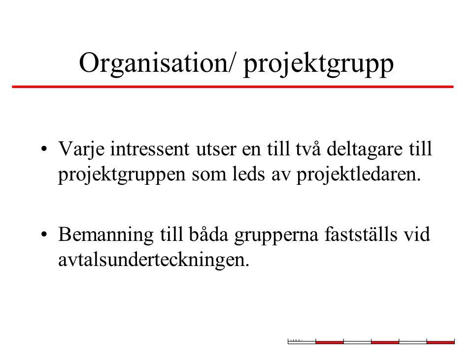 Organisation/ projektgrupp Varje intressent utser en till två deltagare till projektgruppen som leds av projektledaren.