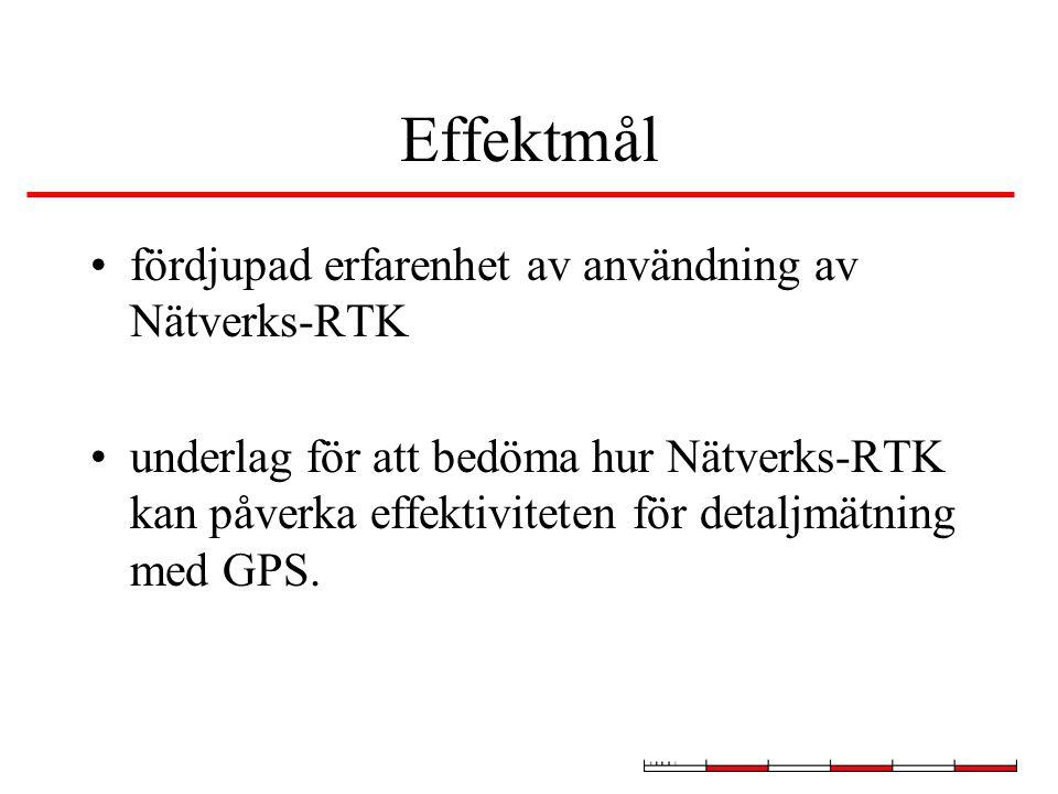 Effektmål fördjupad erfarenhet av användning av Nätverks-RTK underlag för att bedöma hur Nätverks-RTK kan påverka effektiviteten för detaljmätning med GPS.