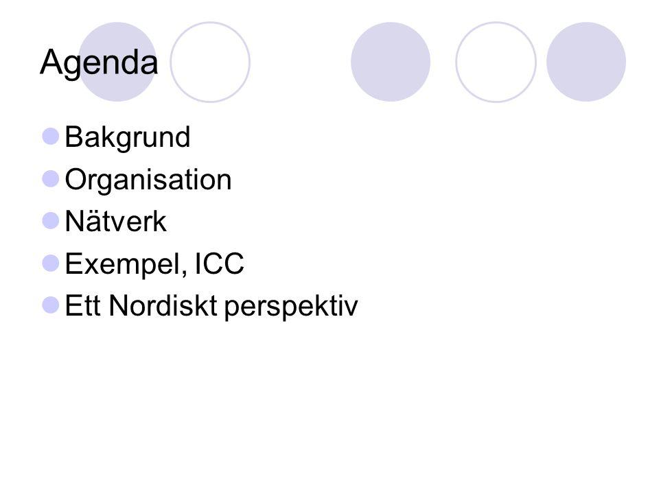 Agenda Bakgrund Organisation Nätverk Exempel, ICC Ett Nordiskt perspektiv