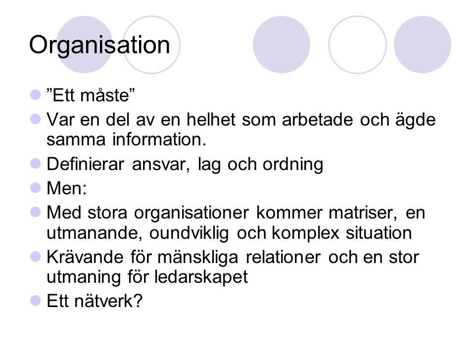Organisation Ett måste Var en del av en helhet som arbetade och ägde samma information.