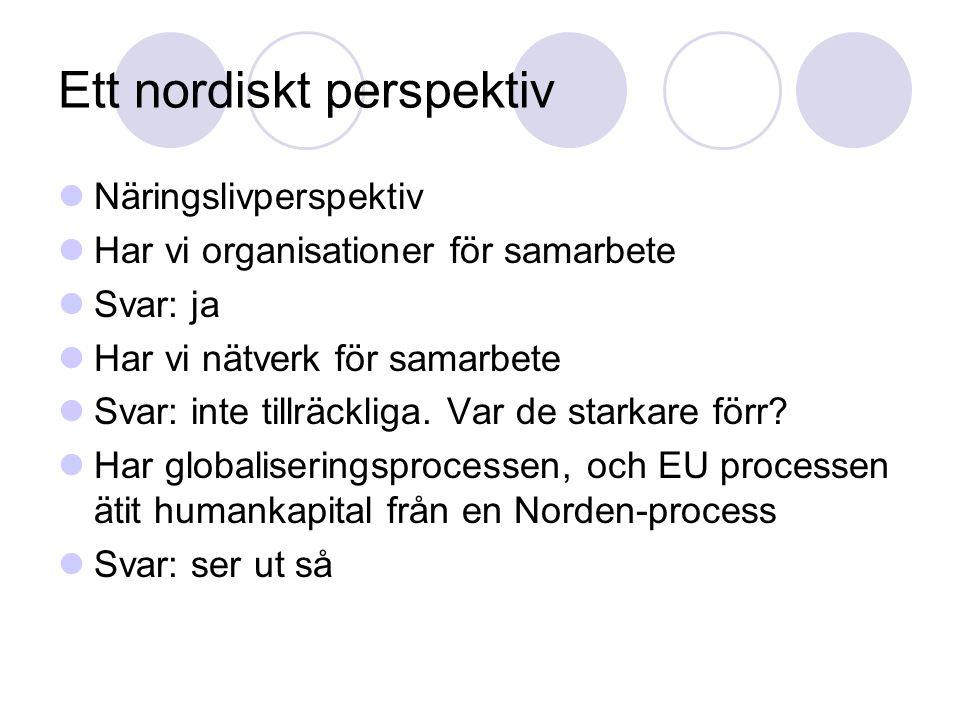 Ett nordiskt perspektiv Näringslivperspektiv Har vi organisationer för samarbete Svar: ja Har vi nätverk för samarbete Svar: inte tillräckliga.