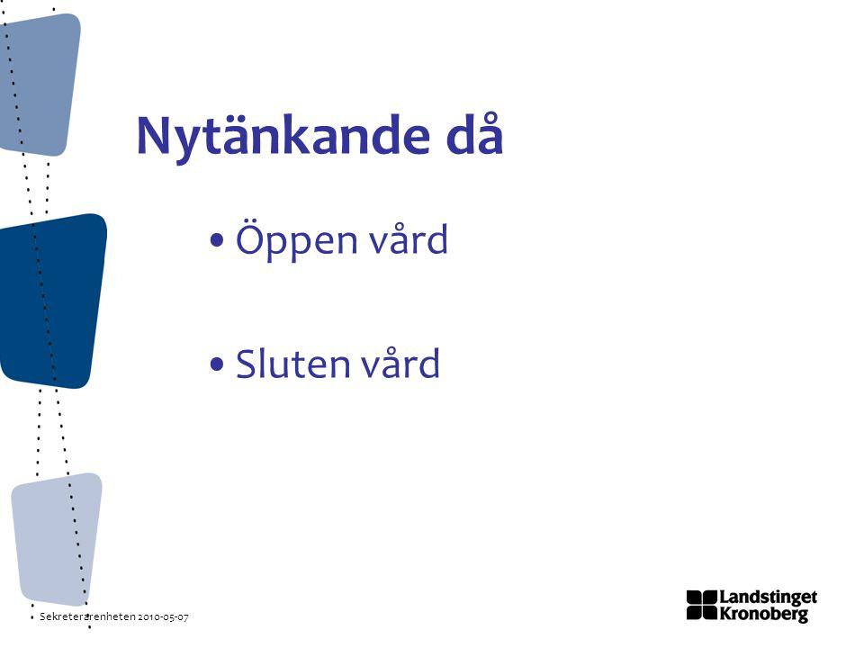 Sekreterarenheten 2010-05-07 Nytänkande då Öppen vård Sluten vård