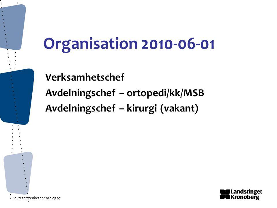 Organisation 2010-06-01 Verksamhetschef Avdelningschef – ortopedi/kk/MSB Avdelningschef – kirurgi (vakant)