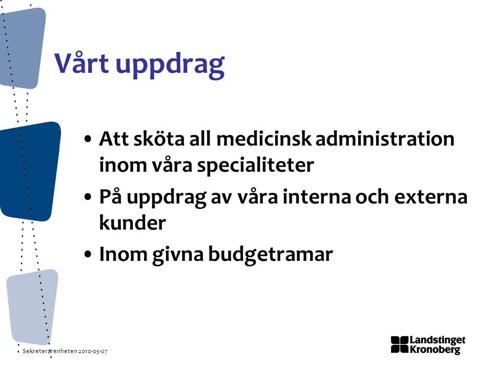 Sekreterarenheten 2010-05-07 Vårt uppdrag Att sköta all medicinsk administration inom våra specialiteter På uppdrag av våra interna och externa kunder Inom givna budgetramar