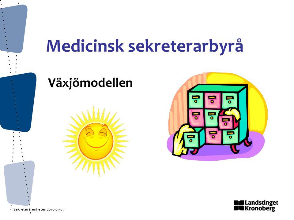 Sekreterarenheten 2010-05-07 Medicinsk sekreterarbyrå Växjömodellen